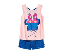 Disney's  Little Girls Minnie Mouse 2-Pc. Graphic-Print Tank Top, Rose Pink/Blue