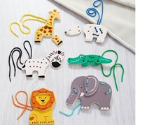 6 Wooden Animal Threading Set, Multicolor