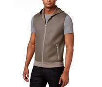 International Concepts Mens Allan Hooded Vest, Taupe