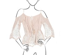 Inc International Concepts Petite Lace Trim Off-the-shoulder Top, Sugar Beige