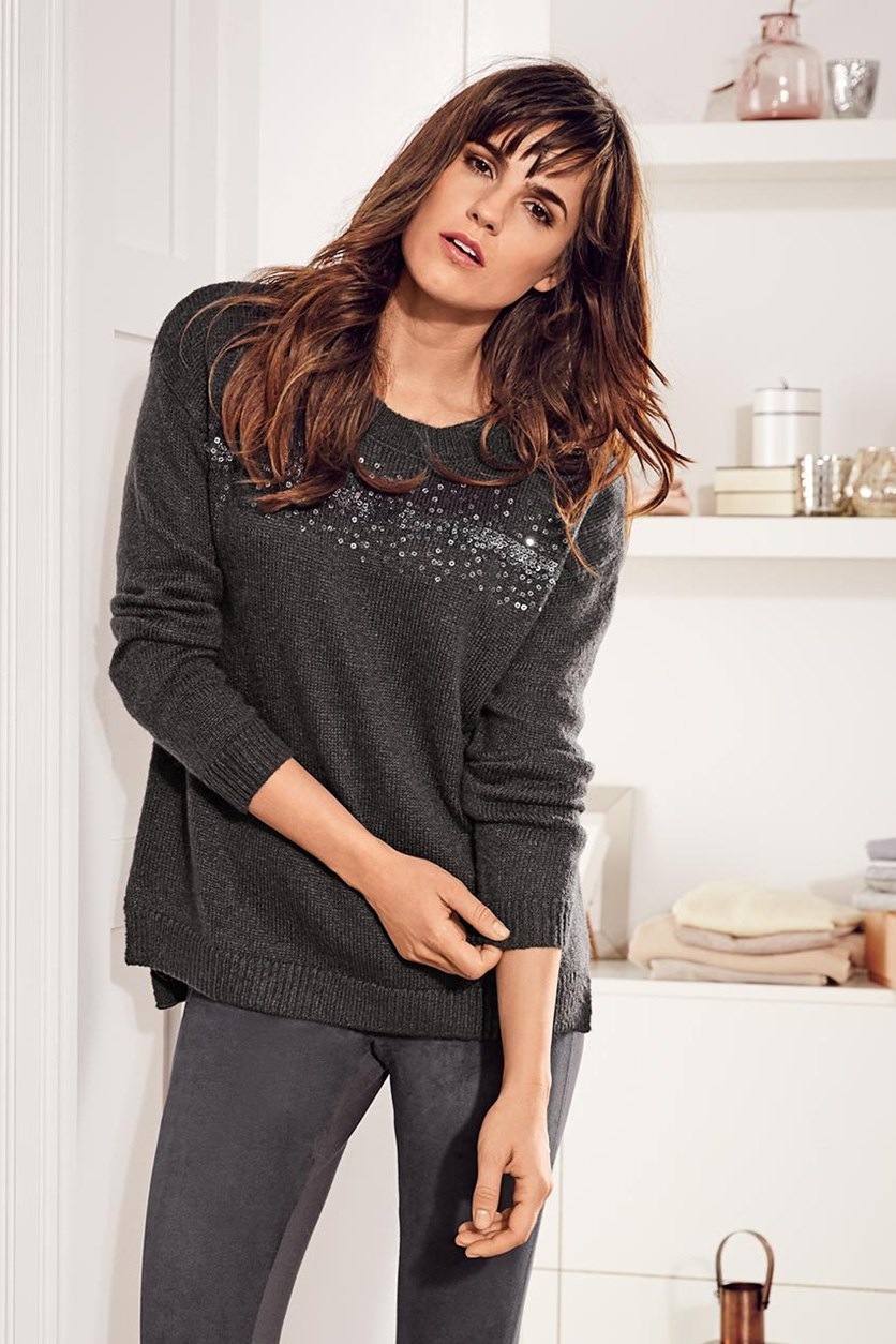 Women's Knit Sweater, Anthracite