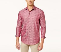 Tasso Elba Men's Medallion Jacquard Shirt, Red Combo