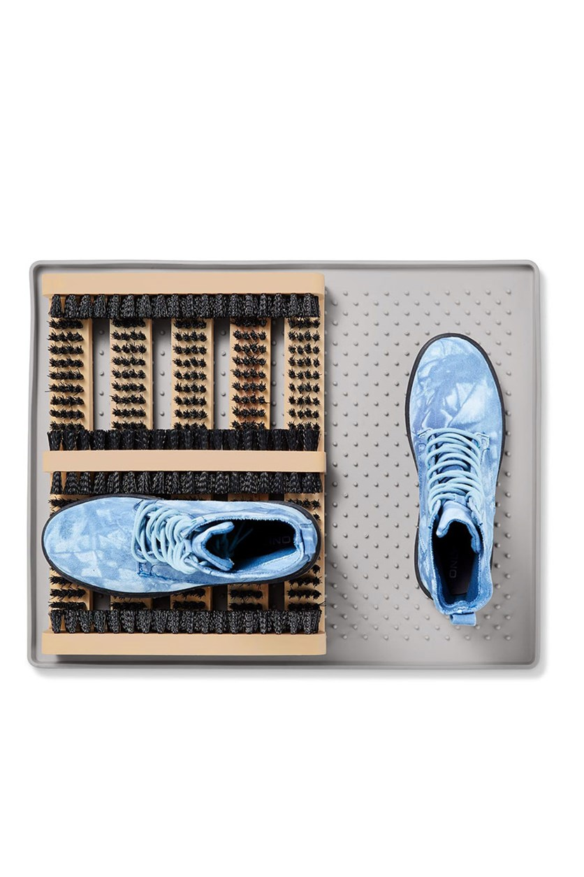 Shoe Cleaning Mat, Natural/Black