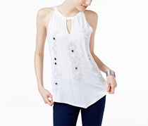 Inc International Concepts Embroidered Halter Top, Bright White