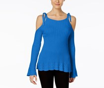 ECI Ribbed Cold-Shoulder Sweater, Victoria Blue