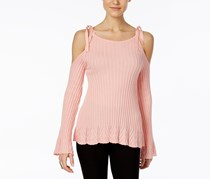Eci Ribbed Off-The-Shoulder Sweater, Blush