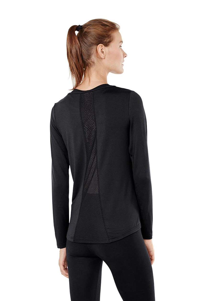 Women Functional Shirt with Mesh Inserts, Black
