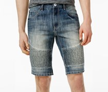 International Concepts Men's Moto Jean Shorts, Medium Wash