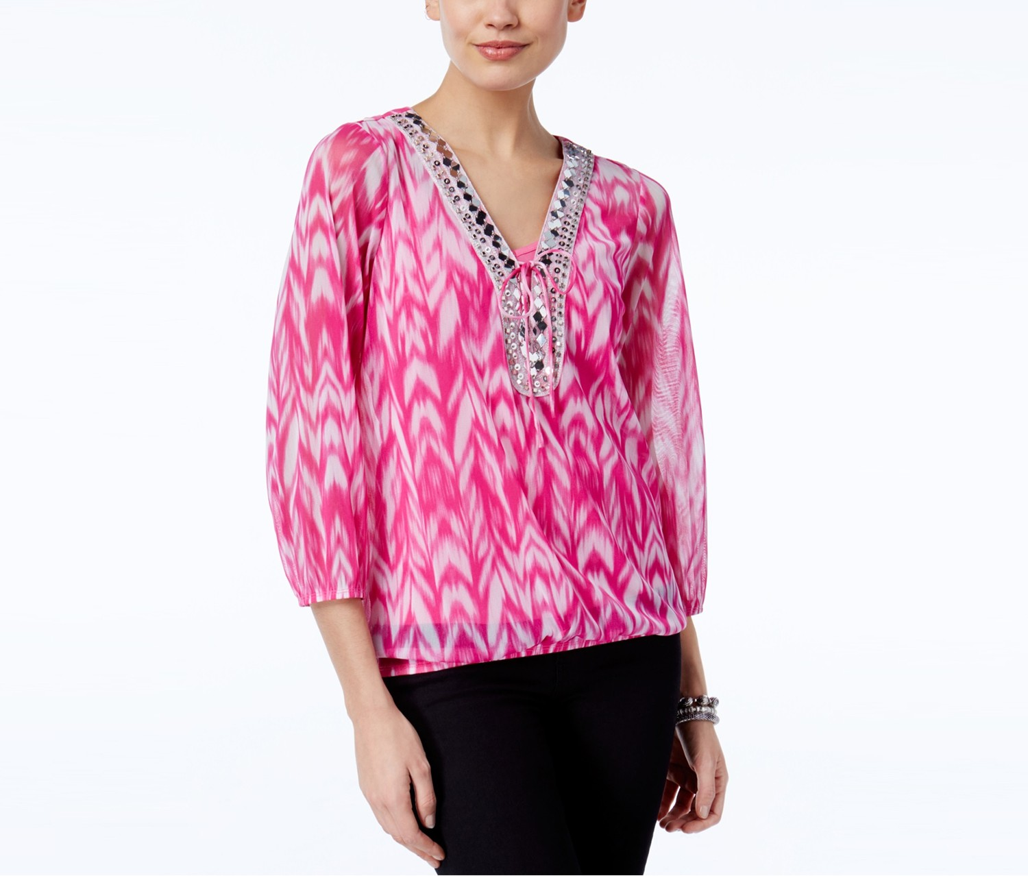 INC International Concepts Petite Printed Lace-Up Peasant Top, Pink Blur