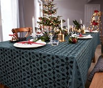 Tablecloth with Jacquard, Anthracite