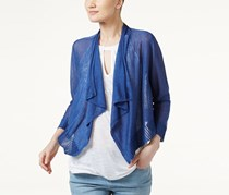 INC Linen-Blend Cropped Cardigan, Sail Blue