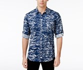 Inc Men's Splatter-Print Cotton Shirt, Blue Jeans