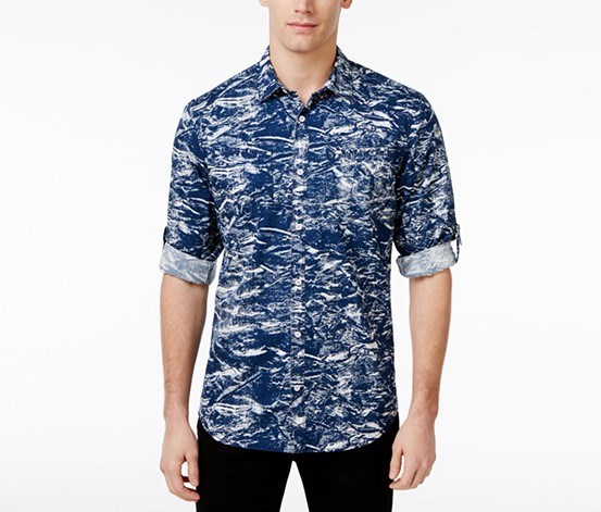 Men's Splatter-Print Cotton Shirt, Blue Jeans