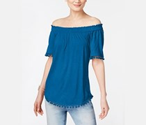 International Concepts Off-The-Shoulder Top, Caribe Blue