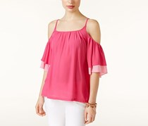 Inc International Concepts Ruffled Cold-Shoulder Top,  Intense Pink