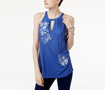 INC International Concepts Embroidered Halter Top, Sail Blue