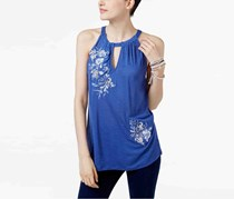 International Concepts Petite Embroidered Keyhole Top, Sail Blue