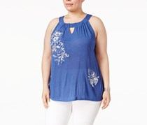 INC Plus Size Embroidered Halter Top, Sail Blue
