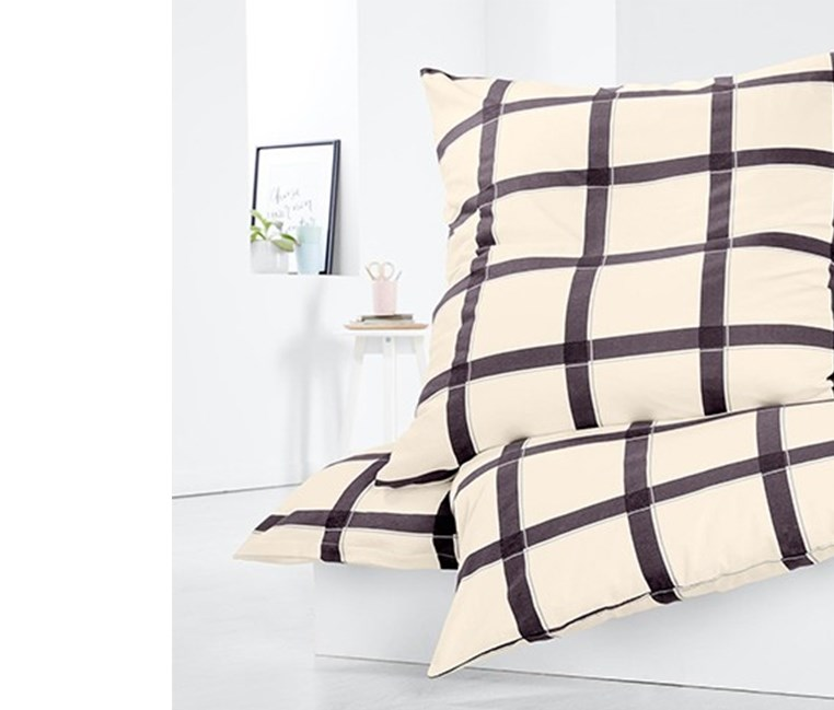 Jersey Duvet Set,135x200 cm, Grey/White Checkered
