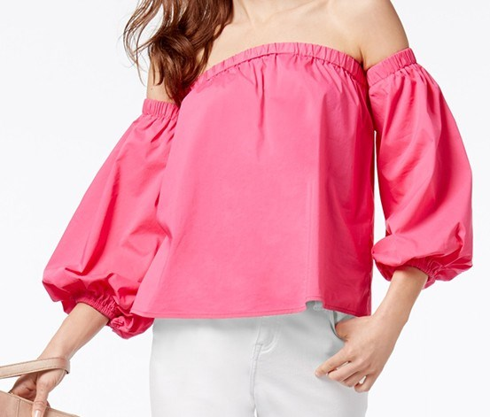 International Concepts Off-The-Shoulder Top, Intense Pink