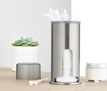 Cosmeticpads And Cotton Sticks Dispenser, Silve