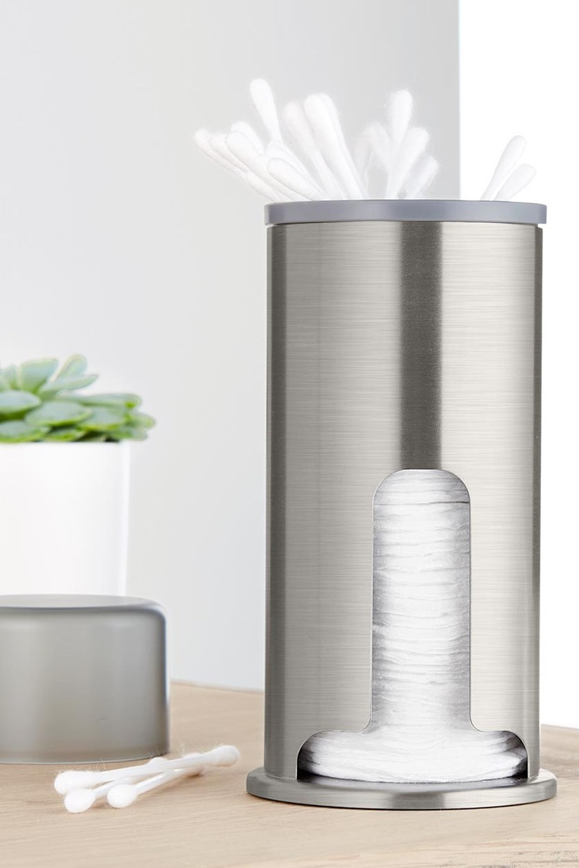 Cosmeticpads And Cotton Sticks Dispenser, Silver