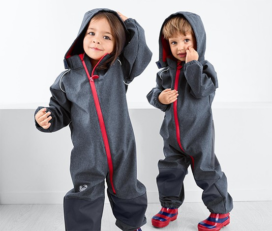 Toddlers Softshell Overall, Blue Denim