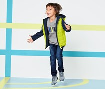 Kids Reversible Sweater Jacket, Lime/Navy Blue