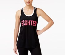 Women Strappy Fighter Printed Stretch Knit Tank Top, Black
