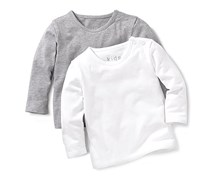 Baby Shirt Long Sleeve Set of 2, Grey/White