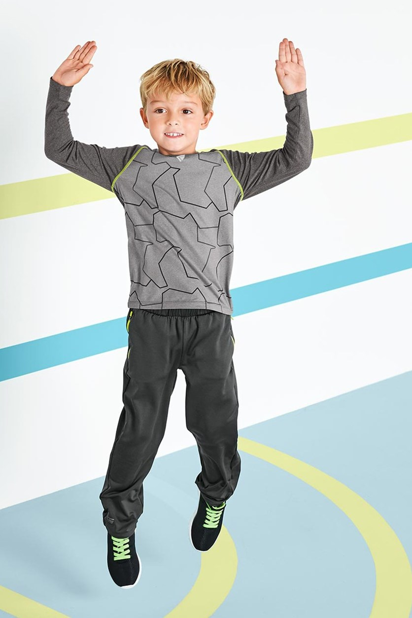 Boys Kids Performance Top Longsleeve, Heather Gray