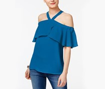 INC International Concepts Cold-Shoulder Top, Caribe Blue
