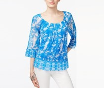 INC Flounce-Hem Peasant Top, Botanical Border Blue