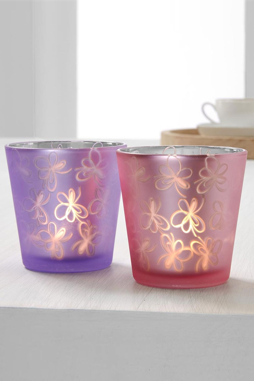 2 Tealight Holder, Lilac/Rose