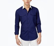 Mens Contrast-Collar Dual-Pocket Shirt, Deep Navy