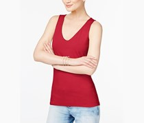 INC International Concepts V-Neck Tank Top, Real Red