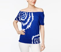 Inc International Concepts Tie-Dyed Peasant Top, Goddess Blue