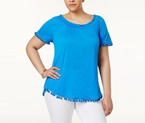 INC International Concepts Pettite Popsicle Pom-Pom Top, Blue