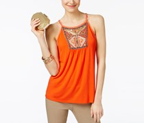 International Concepts Petite Embellished Halter Top, Cosmic Orange