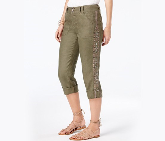 Linen Embroidered Cargo Pants,  Olive
