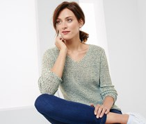 Women's Knit Pullover Sweater, Grey