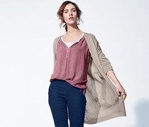 Women's Long Cardigan, Taupe