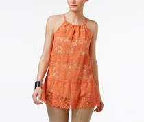 Petite Lace Peplum Halter Top, Brushed Coral