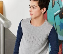 Boys Sweatshirt, Grey/Dark Blue