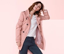Women's Short Trench Coat, Rose