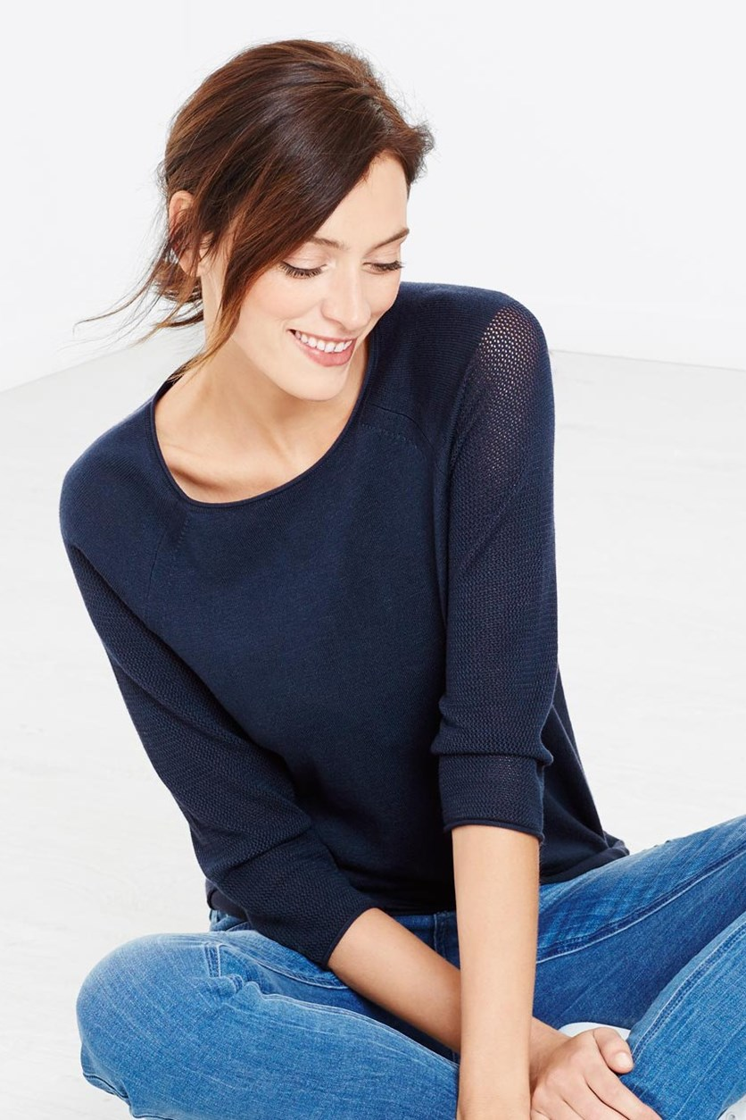 Fine Knit Sweater, Navy