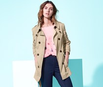 Women's Short Trench Coat, Sand