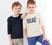Boys 2 Pieces Long Sleeve T-Shirt, White/Blue