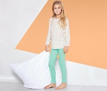 Girls Pajamas, White/Mint