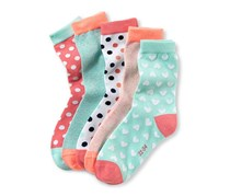 Girls Socks, Green/Pink/Orange